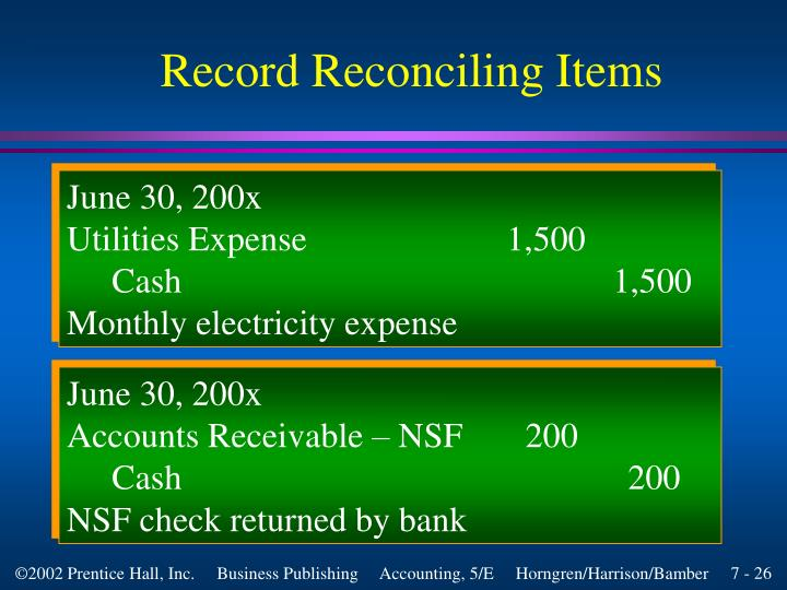 Record Reconciling Items