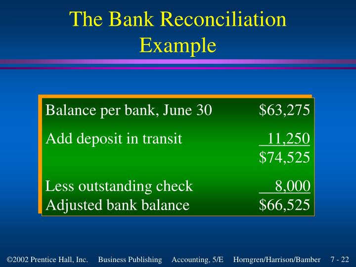 The Bank Reconciliation Example