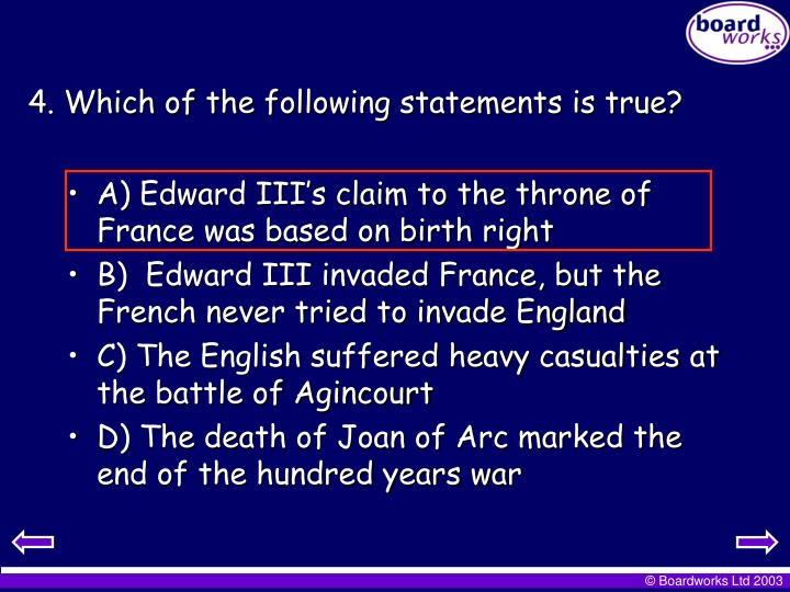 4. Which of the following statements is true?