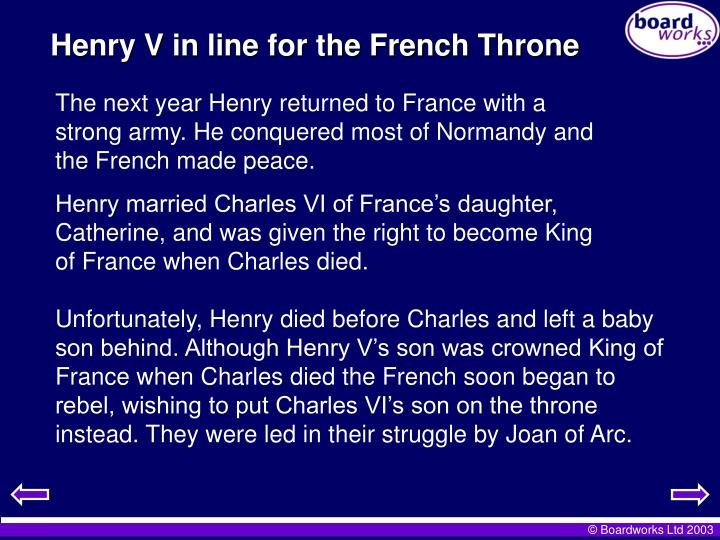Henry V in line for the French Throne