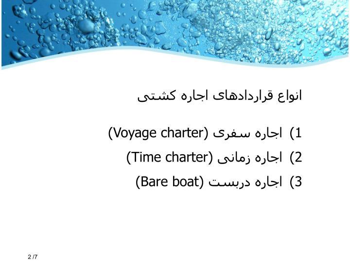 انواع قراردادهای اجاره کشتی