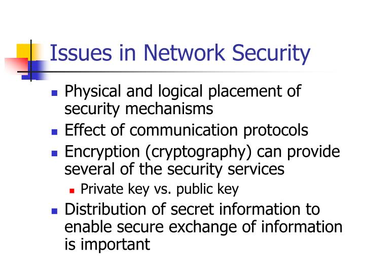Issues in Network Security