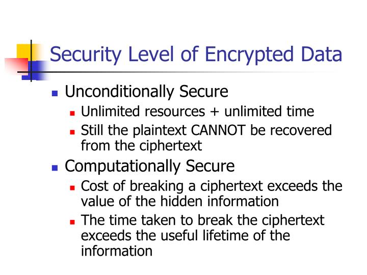 Security Level of Encrypted Data