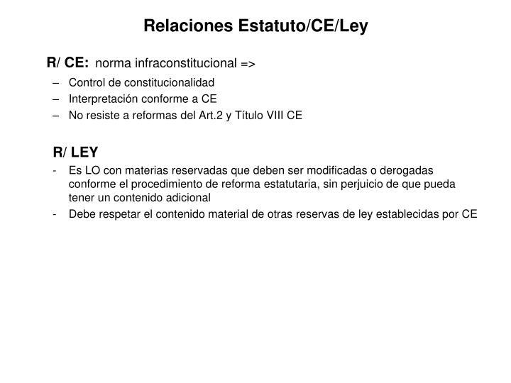 Relaciones Estatuto/CE/Ley