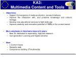 ka3 multimedia content and tools