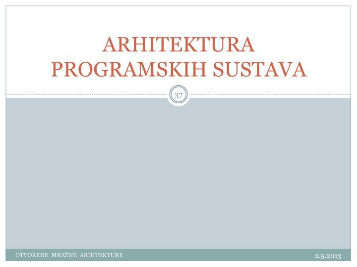 ARHITEKTURA PROGRAMSKIH SUSTAVA
