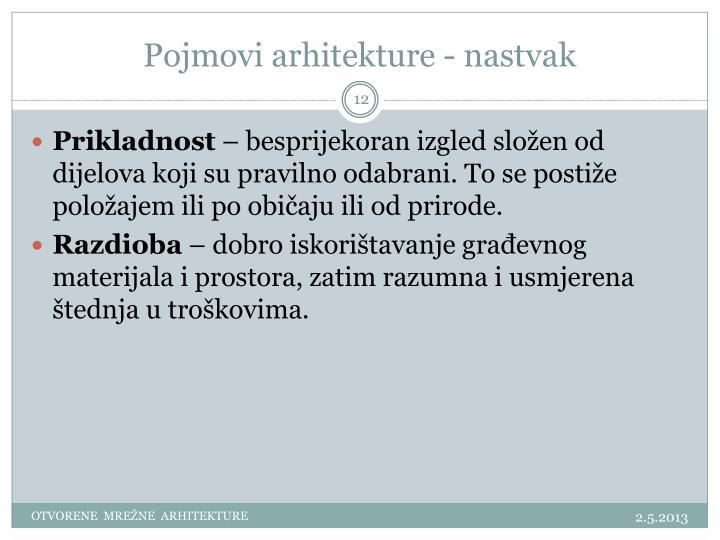 Pojmovi arhitekture - nastvak