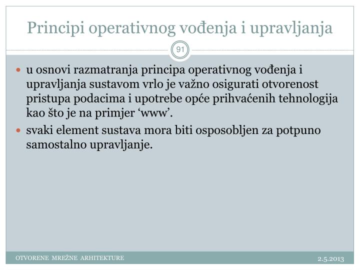 Principi operativnog vođenja i upravljanja