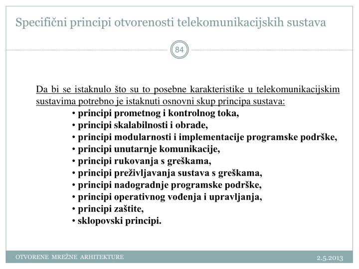 Specifični principi otvorenosti telekomunikacijskih sustava