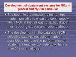 development of abatement systems for nox in general and n 2 o in particular