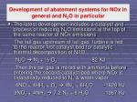 development of abatement systems for nox in general and n 2 o in particular1