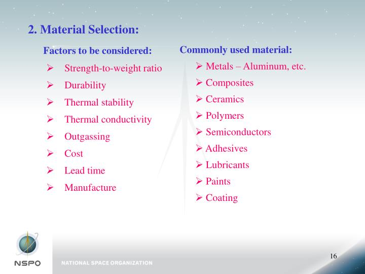2. Material Selection: