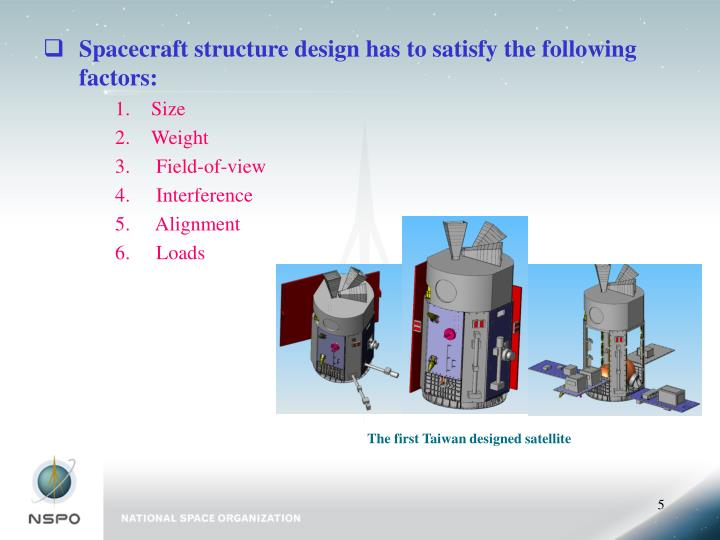 Spacecraft structure design has to satisfy the following factors: