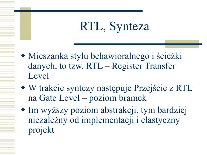 RTL, Synteza