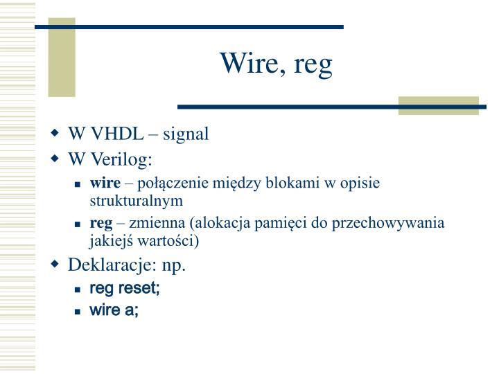 Wire, reg