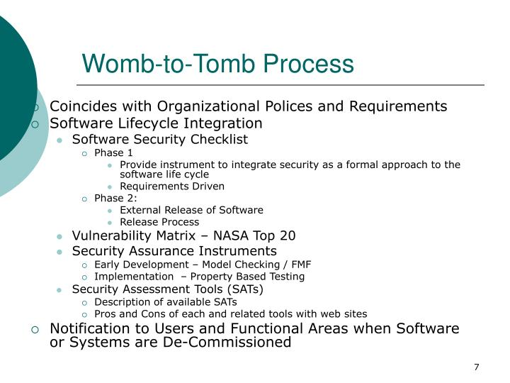 Womb-to-Tomb Process