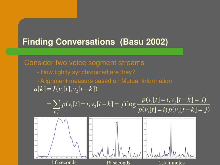 Finding Conversations  (Basu 2002)