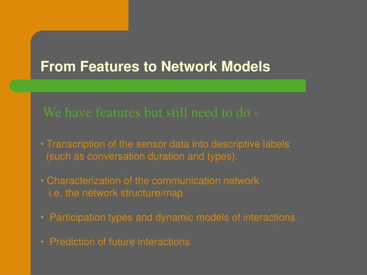 From Features to Network Models