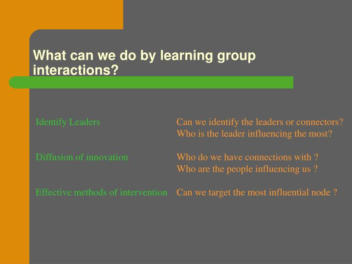 What can we do by learning group interactions?