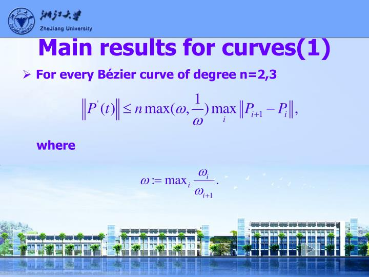 Main results for curves(1)