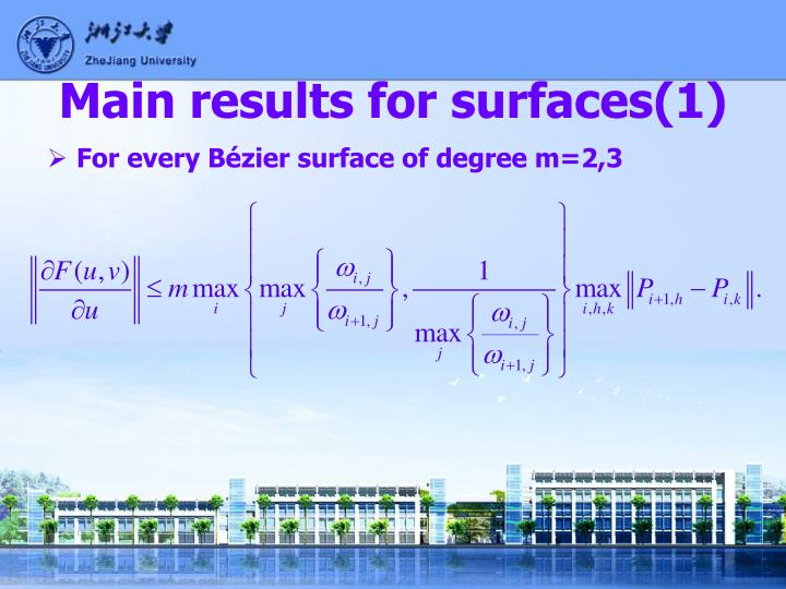 Main results for surfaces(1)