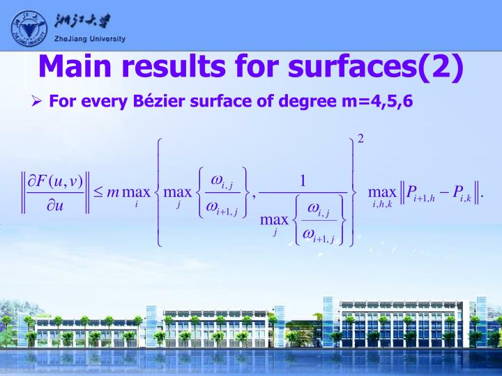 Main results for surfaces(2)