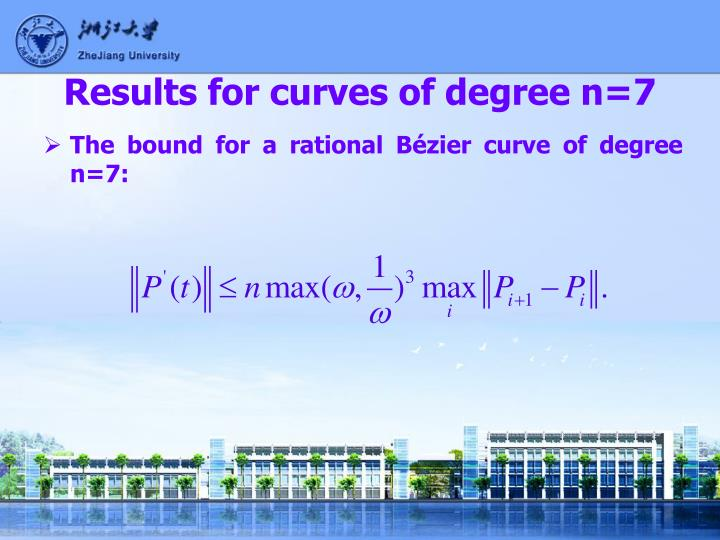 Results for curves of degree n=7