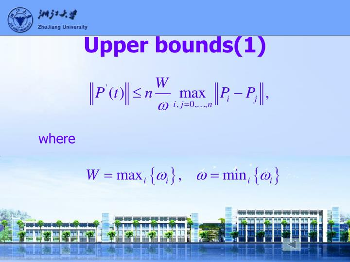 Upper bounds(1)
