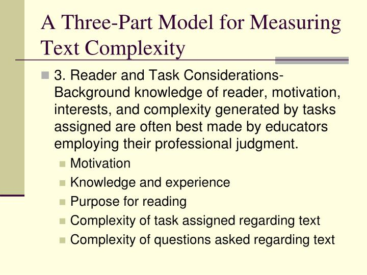A Three-Part Model for Measuring Text Complexity