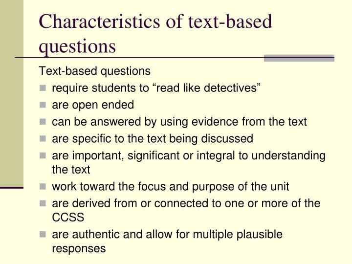 Characteristics of text-based questions