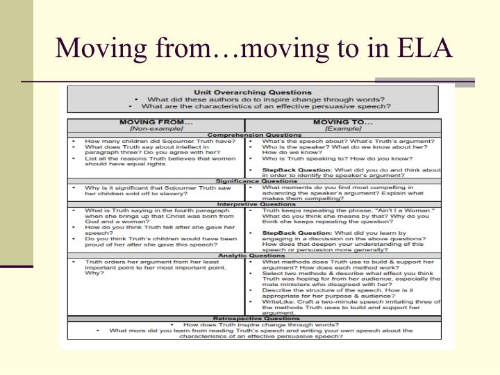 Moving from…moving to in ELA