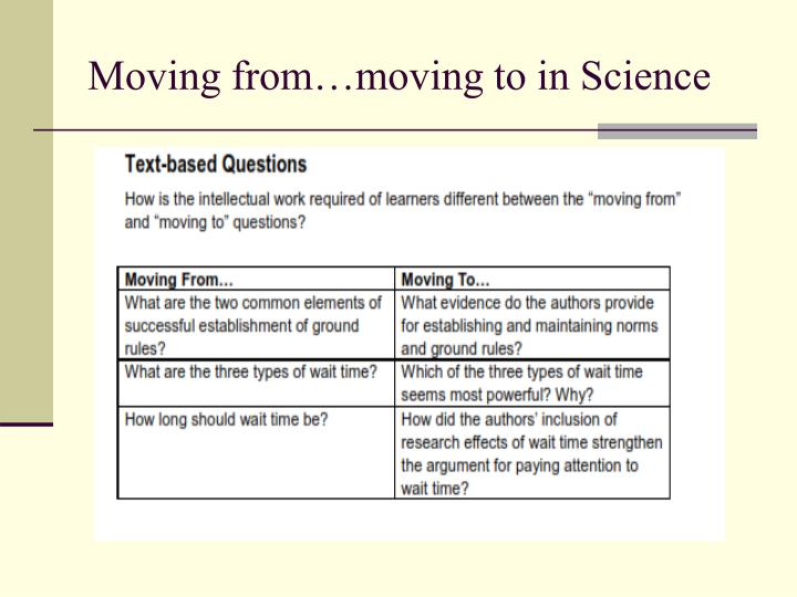 Moving from…moving to in Science