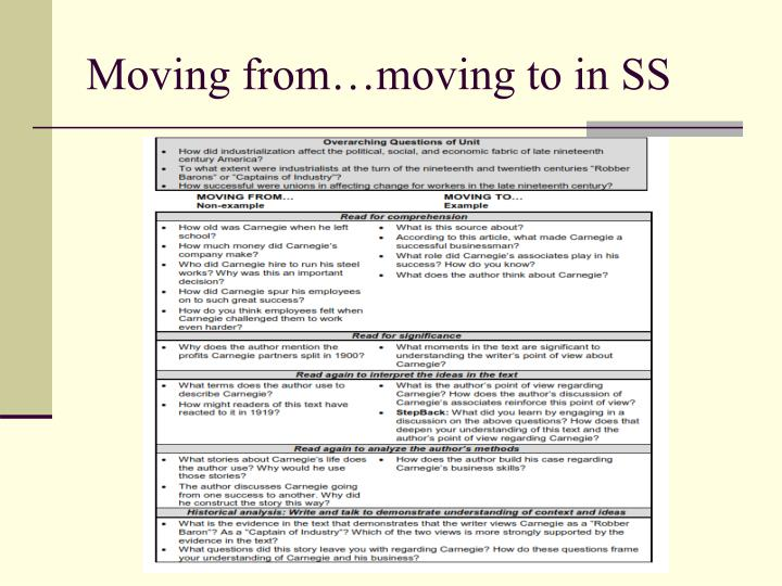 Moving from…moving to in SS