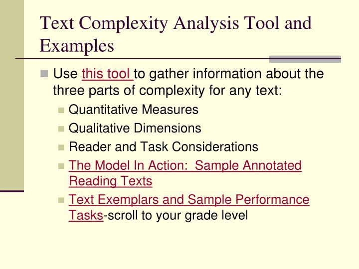 Text Complexity Analysis Tool and Examples
