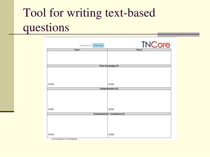Tool for writing text-based questions