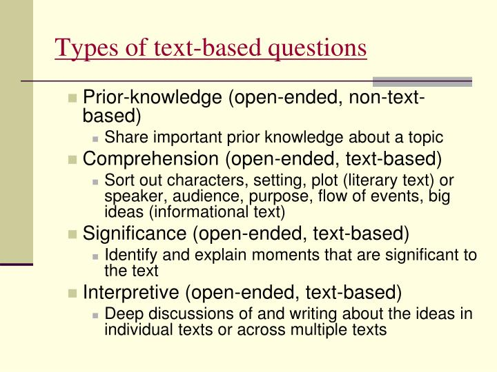 Types of text-based questions