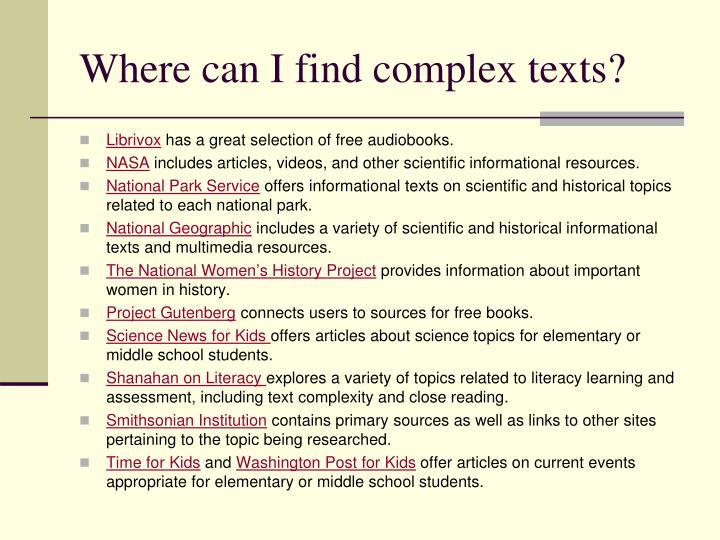 Where can I find complex texts?
