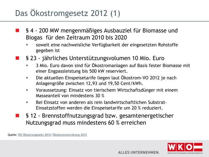 Das Ökostromgesetz 2012 (1)
