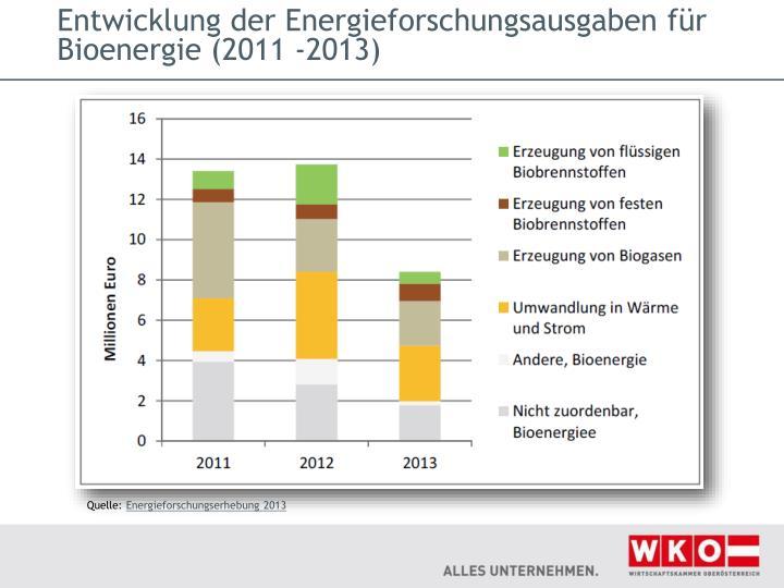 Entwicklung der Energieforschungsausgaben für Bioenergie (2011 ‐2013)