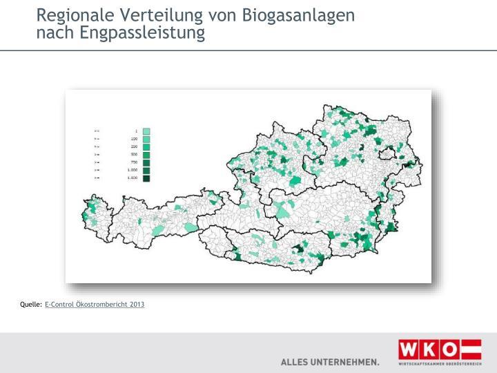 Regionale Verteilung von Biogasanlagen