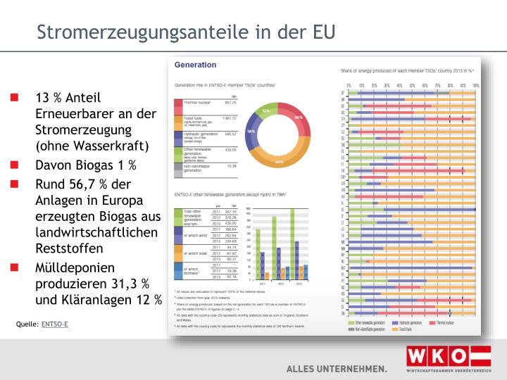 Stromerzeugungsanteile in der EU