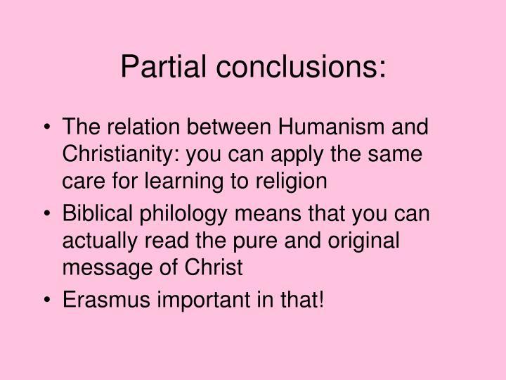 Partial conclusions: