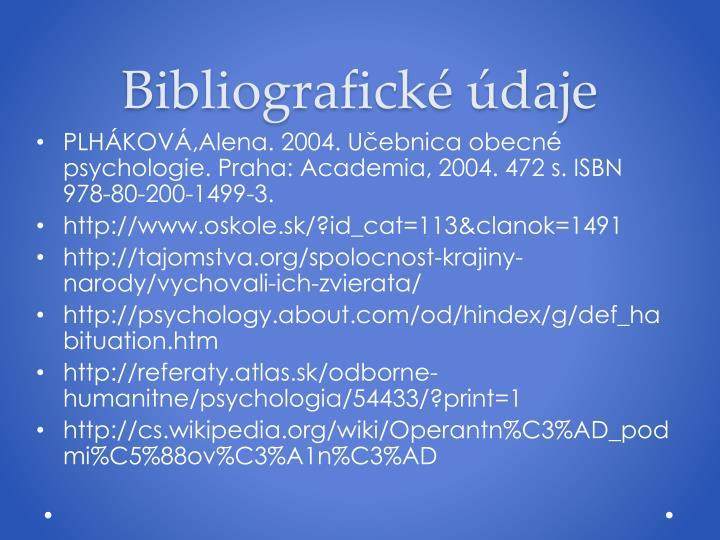 Bibliografické údaje