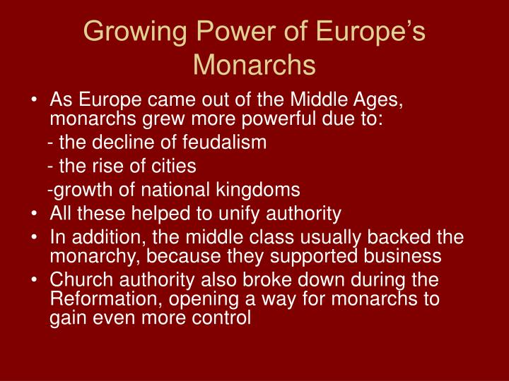 Growing Power of Europe's Monarchs