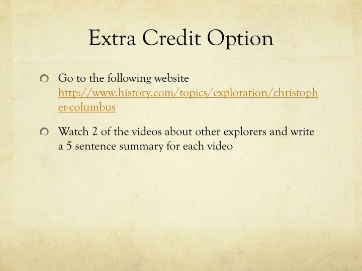 Extra Credit Option