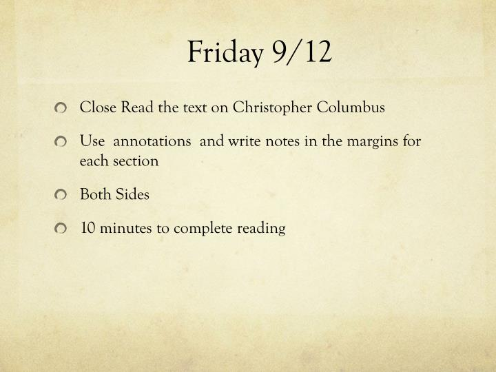 Friday 9/12