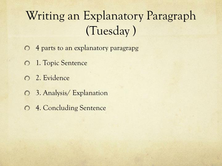 Writing an Explanatory Paragraph