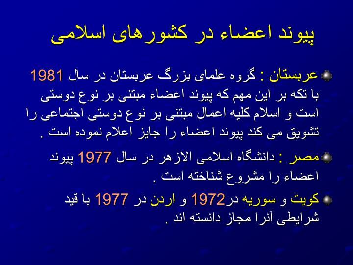 پيوند اعضاء در كشورهای اسلامی