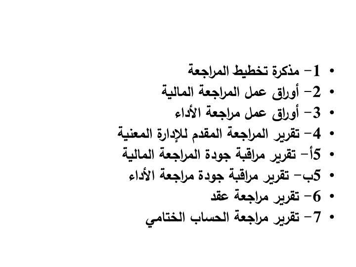 1- مذكرة تخطيط المراجعة