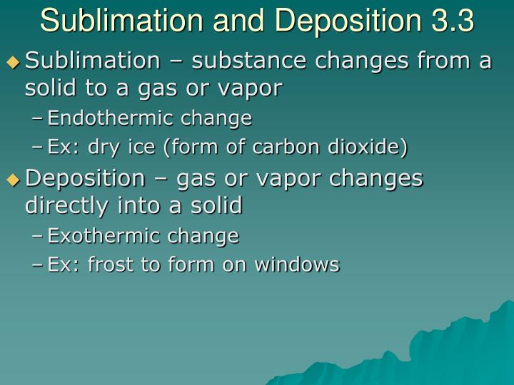 Sublimation and Deposition 3.3